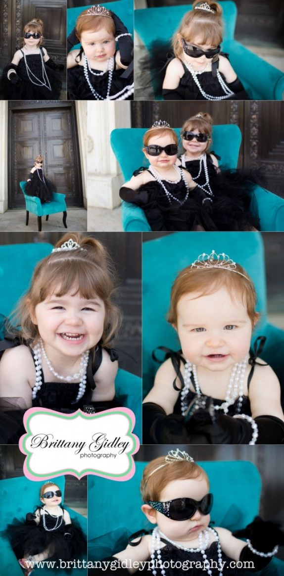 Breakfast At Tiffanys | Brittany Gidley Photography LLC | Pearls | Tiara | 12 Month Baby | 3 Year Old Toddler | Teal | Black