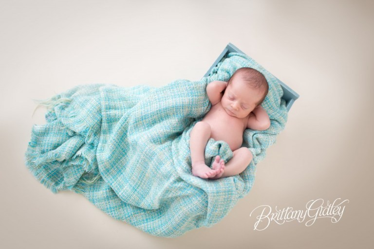 Newborn |Blue and Cream | Seamless Paper | Cute Poses | Brittany Gidley Photography LLC