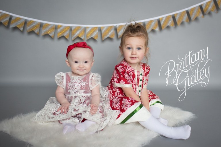 Sisters | Holiday Studio | Baby | Toddler | Big Sister | Little Sister | Brittany Gidley Photography LLC