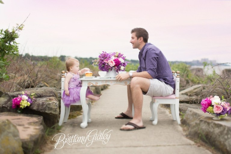 Father Daughter Tea Party | Tea Party With Daddy | One Year Old | Tea Party | Cake Smash | Photo Shoot | Purple Teal White | Father Daughter