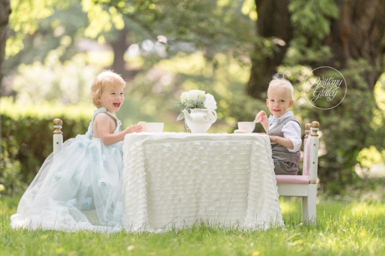 Tea Party Photo Shoot | Cleveland Museum of Art | Twins | 2 Year Old Photo Ideas