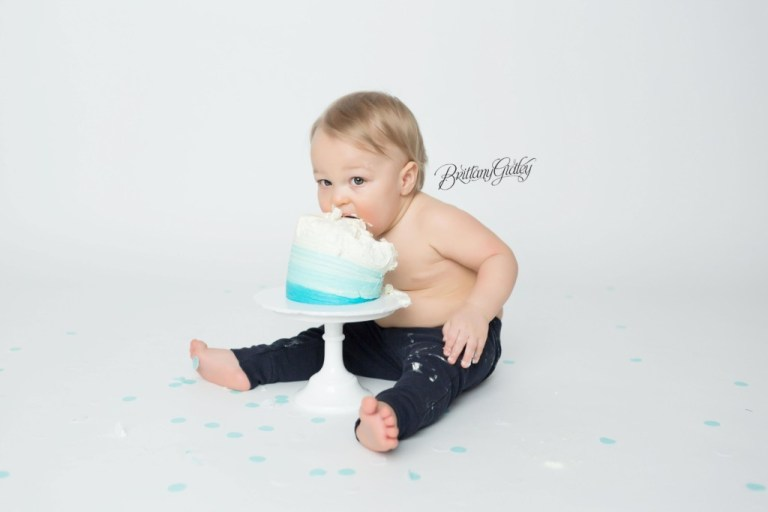 12 Month Old Baby Boy Cake Smash   Blue and White Ombre Cake