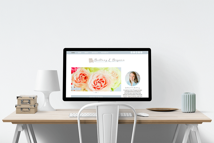 Brittany L Bergman site redesign by Grace + Vine Studios.