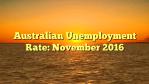Australian Unemployment Rate: November 2016