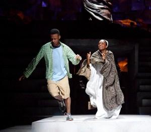 Simon Manyonda (Lucius) and Adjoa Andoh (Portia) in Julius Caesar