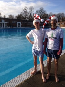 Brixton Blog co-editor Tim Dickens, left, and Charlie Russell prepare for a December dip in Brockwell Lido