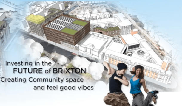 Plans include at least two new blocks of flats, as well as an 'enterprise centre' on Brixton Hill