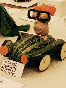 Chris Evans in a car made from vegetables