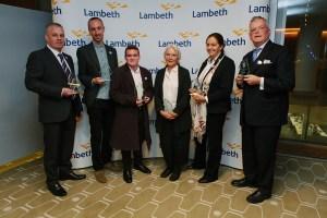 The award winners: (from left) Rob Goacher, Wayne Trevor, Matthew Bridge, Anthea Massey, Kathleen Staniford and Richard Keagan-Bull