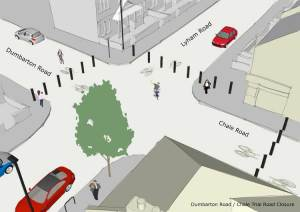 Trial closure of Dumbarton/Chale road junction