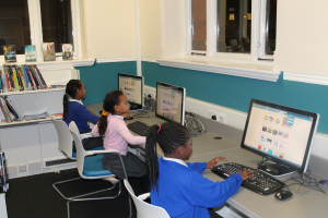 Ruth, Heaven and Marie get coding at Brixton Library's Code Club