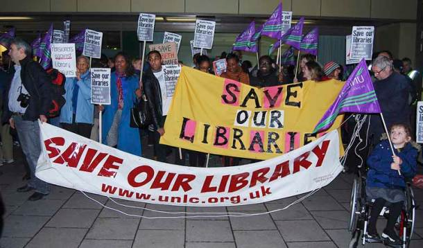 Striking library workers demonstrated outside the council meeting
