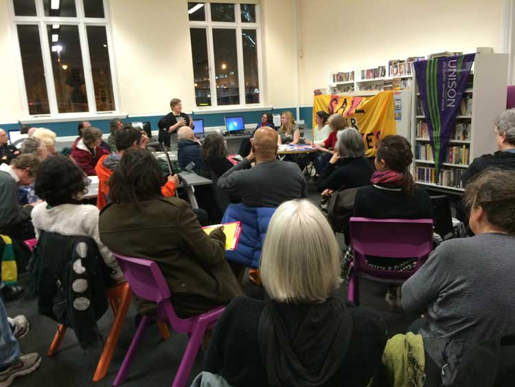Protest meeting at Tate Library