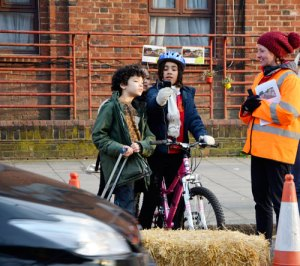 Local children helped Sustrans staff and volunteers to monitor traffic during the trial