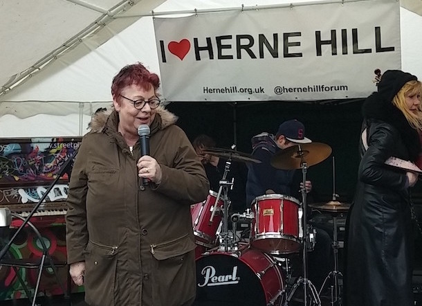 Jo Brand speaks in support of the Half Moon Pub