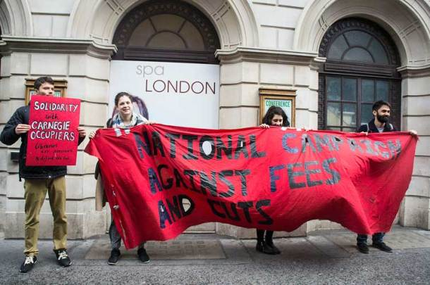 Protesters outside GLL's luxury spa in the West End