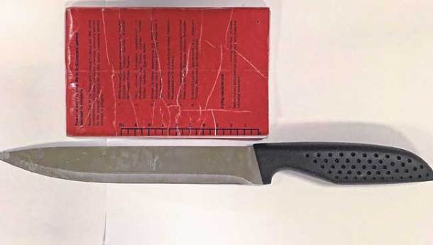 Image of a knife taken from a 12-year-old boy