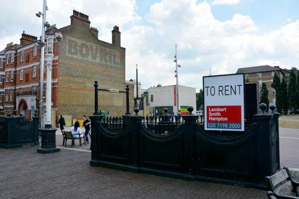 To rent sign on the Windrush Square toilets