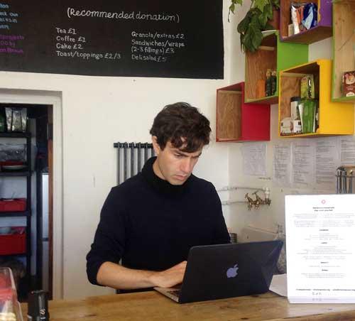 Tom Shakhli at the Brixton Pound cafe