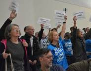 Local author Stella Duffy (centre in blue t-shirt) who recently collected her OBE honour was among the protesting library campaigners