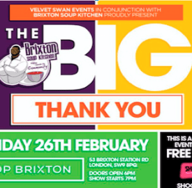 Soup Kitchen flyer for Big Thank You Party