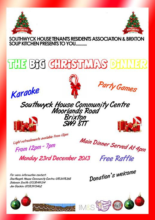 Brixton Soup Kitchen Xmas Dinner 23rd Dec - appeal for donations
