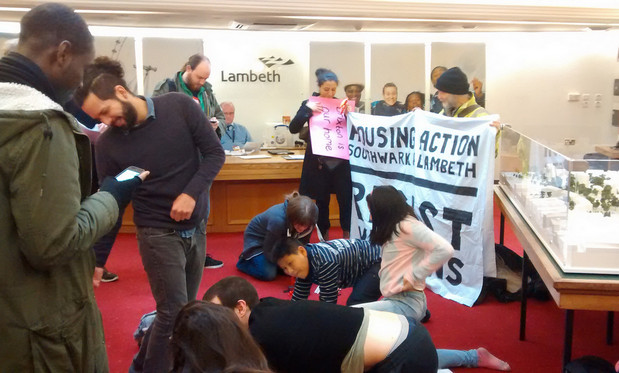 Southwark and Lambeth Housing Action activists occupy Lambeth town hall