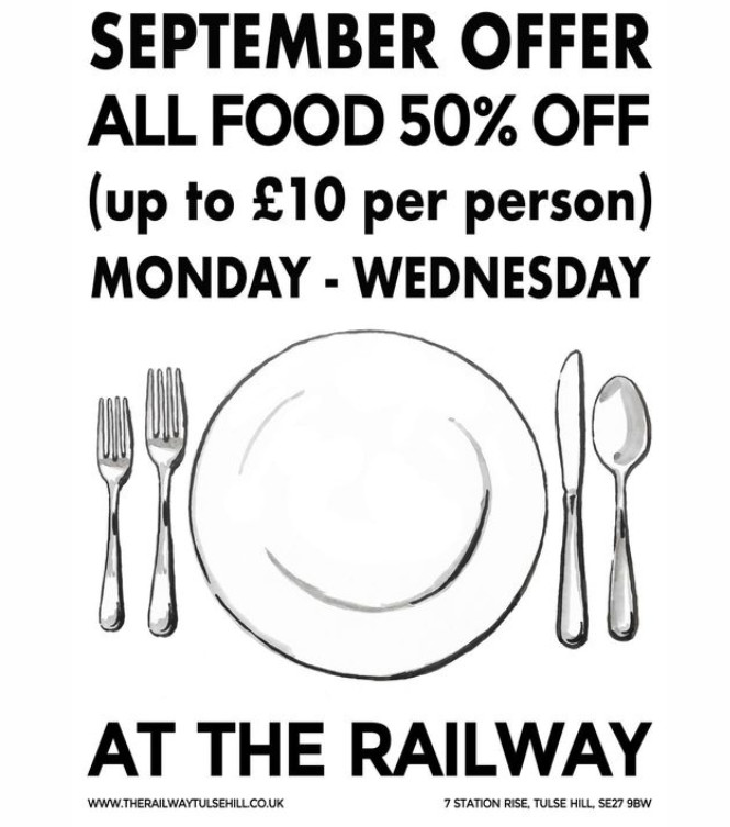 The Railway Tavern in Tulse Hill extends its 50% off food