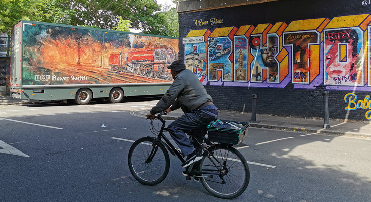 Brixton photo of the day: lorry, steam engine, bike and Brixton in Valentia Place