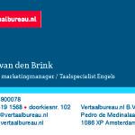 Vertaalbureau.nl visitekaartjes totaal 7