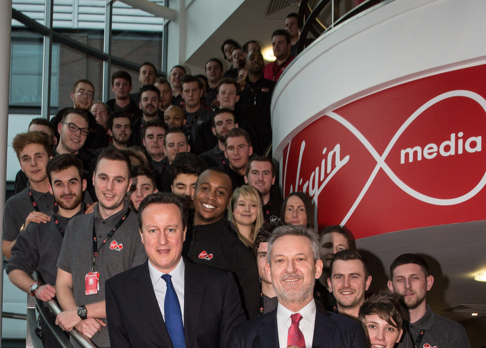 Prime Minster visits Virgin Media Offices, London