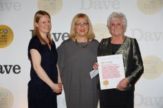 Harvey Lee Award winner Beryl Vertue (right) with Marilyn Lee (centre) and Emily Booth