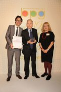 The winner of the Harvey Lee Award John Humphreys (centre) with Marylin Lee and John Plunkett