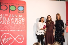 Channel 4 for won the Innovation Award for new advances in championing diversity, including initiatives such as Spotlight on Directors and diversity throughout its commissioning and in its advertising. Pictured Sunetra Sarker, Alex Mahon and the BPG's Caroline Frost.