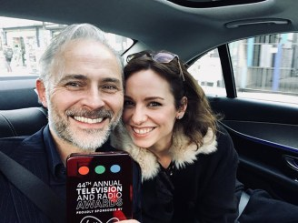 Mark Bonnar and Lucy Gaskell celebrate his Best Actor win