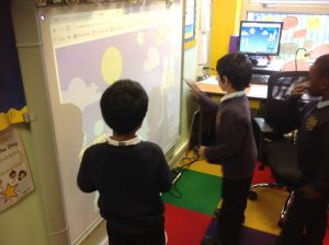We took turns to use the interactive whiteboard. We chose our own phonics program and worked through it, then we let our friend choose.