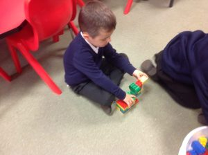 We used lego to create a hiding place for the 'Blue Thing'.