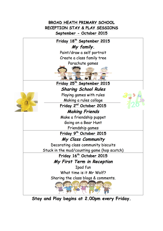 Reception Stay and Play March Autumn 2015
