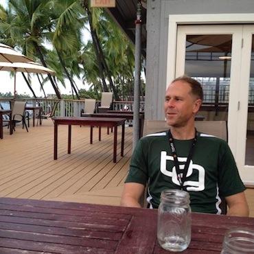 Brock recording the podcast in Kona