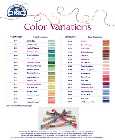 dmc color variations chart