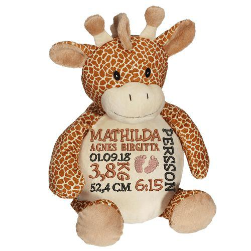 Gosedjur Giraff som heter Gerry, med en personlig brodyr på magen