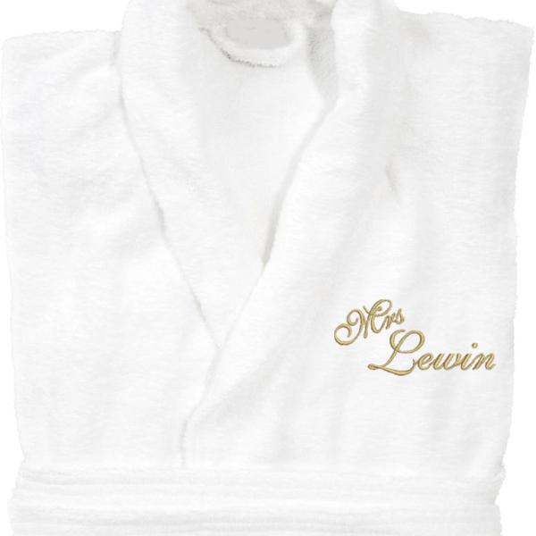 Vit eller marin badrock med brodyr Mrs eller Mr