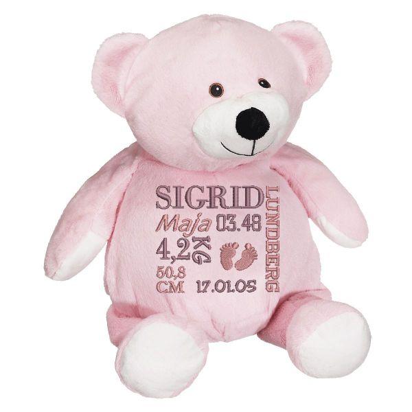 En härlig rosa nalle, med plats för en stor personlig brodyr på magen.