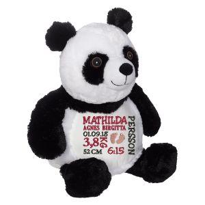 En härlig panda som heter Peyton, med plats för en stor personlig brodyr på magen.