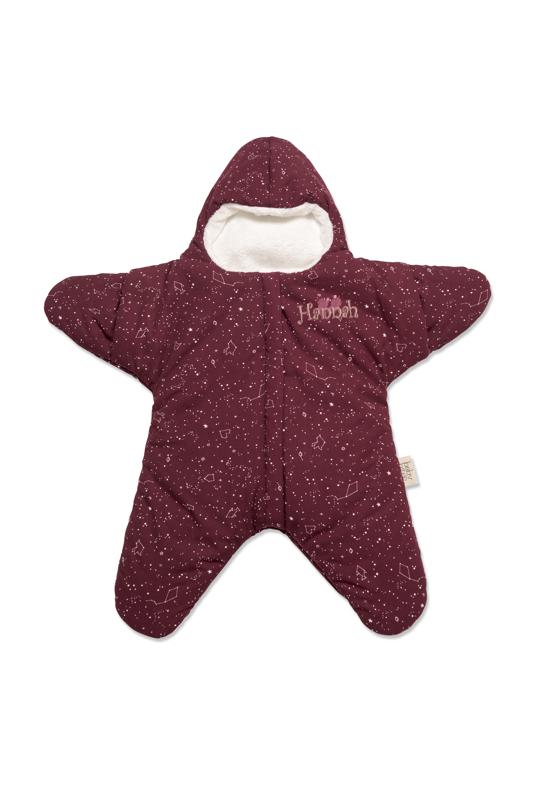 Sovsäck utformad som en stjärna med brodyr.