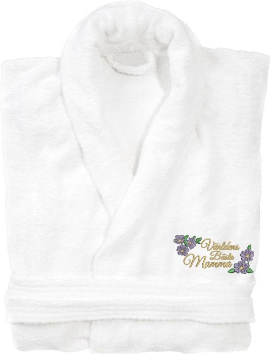 Badrock med vacker blom brodyr och texten världens bästa mamma i guldmetalltråd