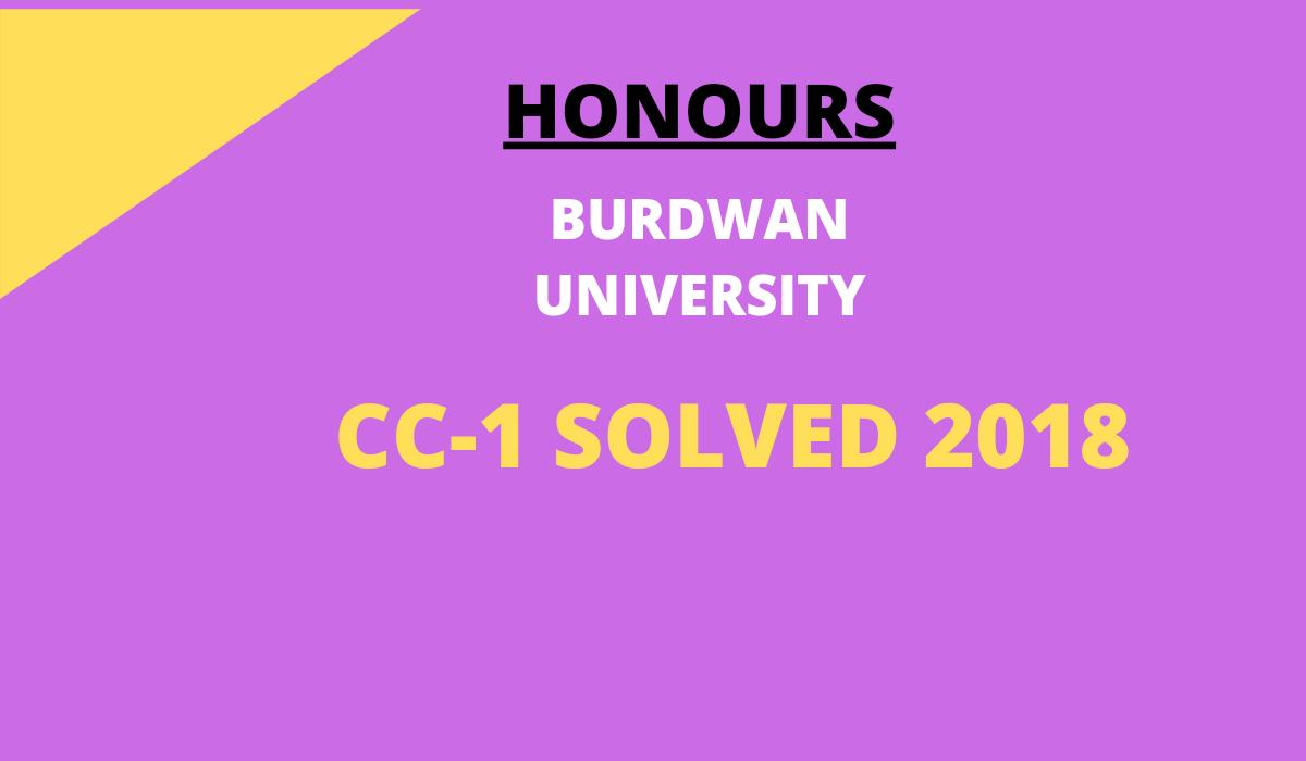 BURDWAN UNIVERSITY 2018 CC-1