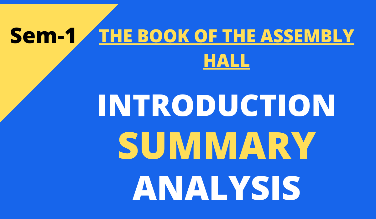 The Book of the Assembly Hall Summary