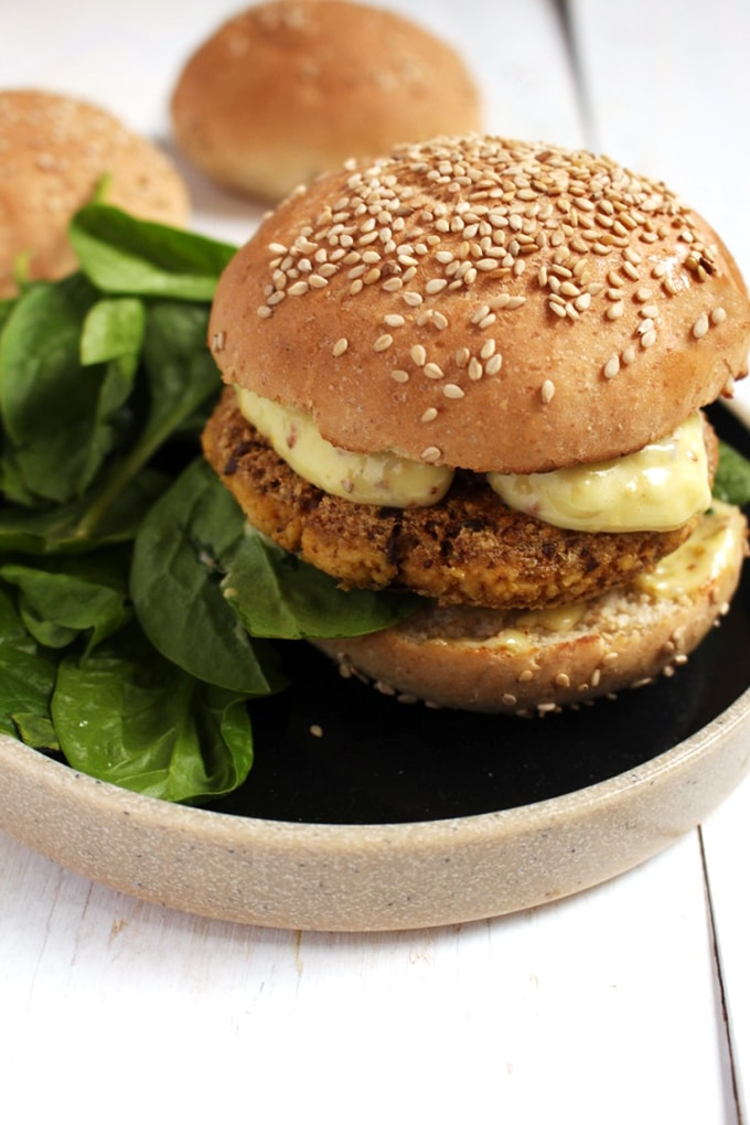 Tofu Burger with caramelized onions and sweet and smoky dijonnaise