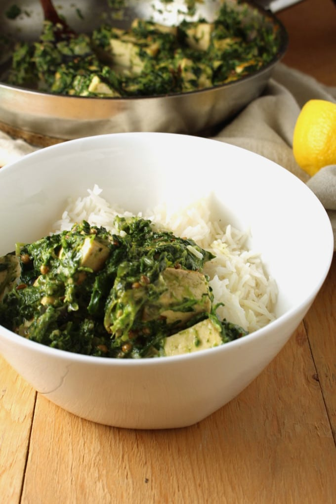 Vegan Palak Paneer | With Tofu! This is not a traditional recipe – it is a simplified vegan palak paneer dish that will keep you coming back for more.